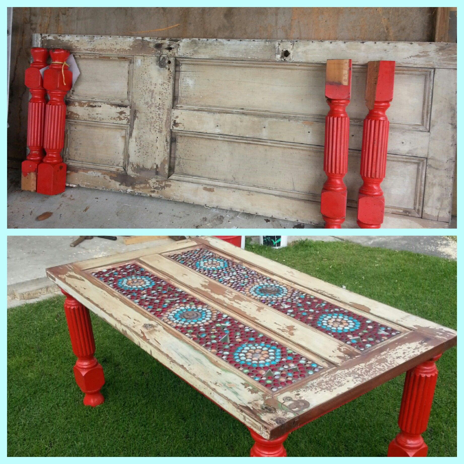 A coffee table made from old doorwith a little mosaic and bits and
