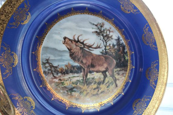 Vintage STW Bavaria Stag Plate by RedRiverAntiques on Etsy