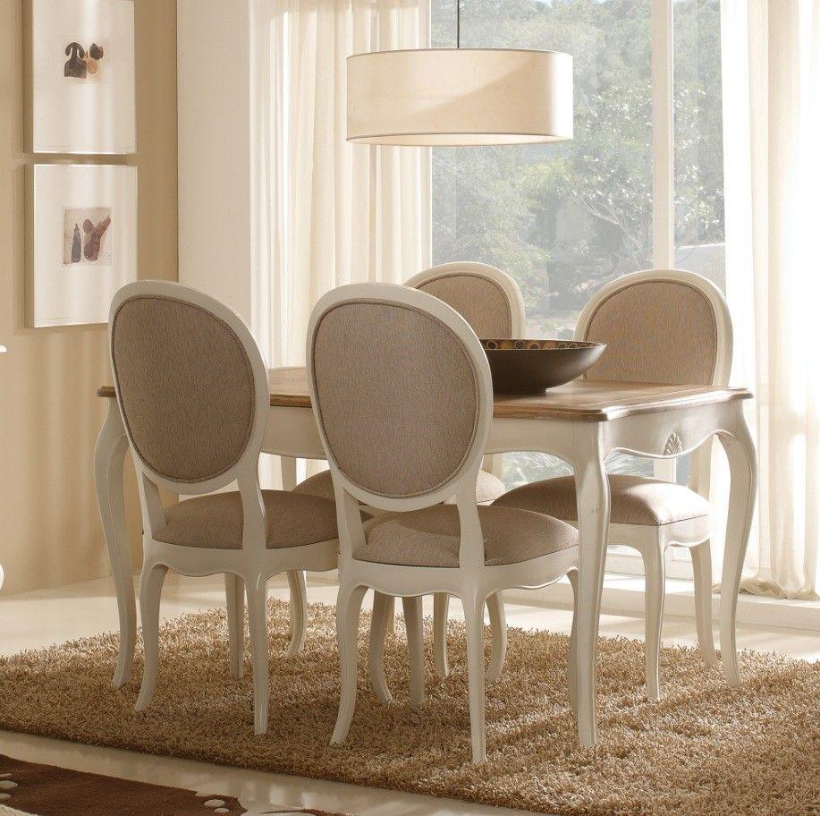 Mesa de comedor extensible vintage blanca maison muebles for Comedores redondos clasicos