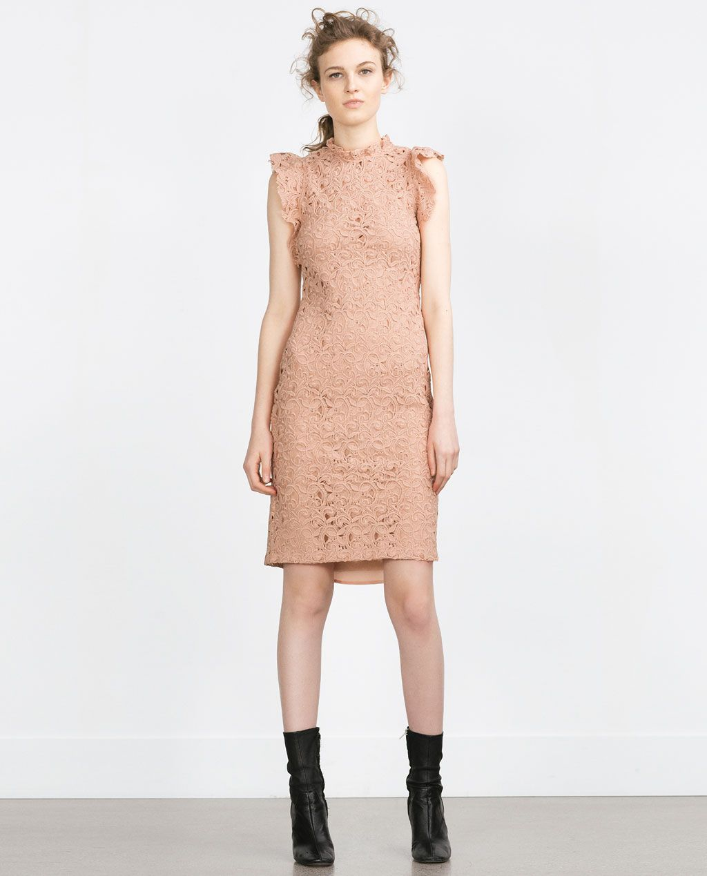 49bf755410 Image 1 of TUBE DRESS WITH GUIPURE LACE FRILL from Zara