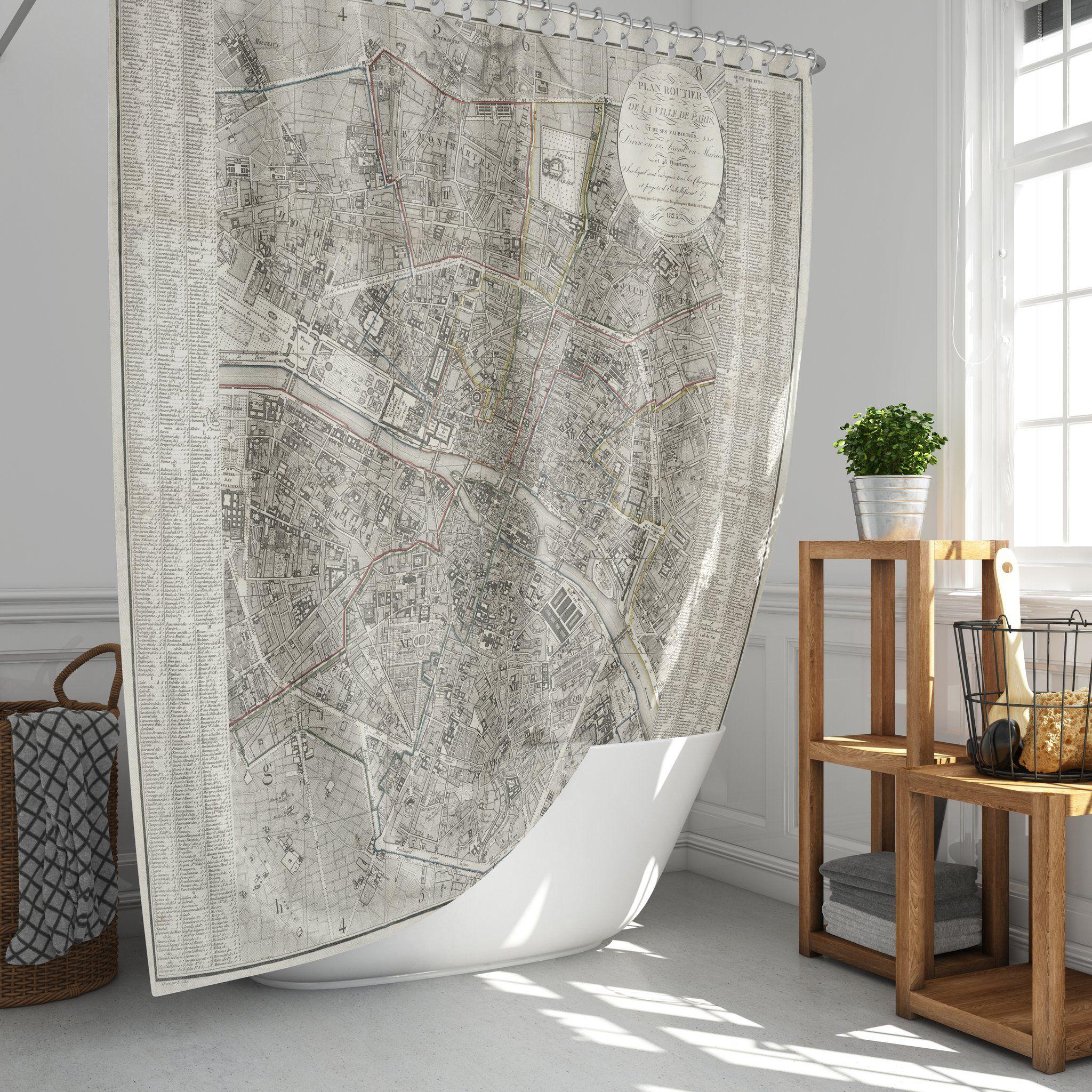 Vintage Map Of Paris Shower Curtain In 2020 Vintage Shower Curtains Abstract Art Shower Curtain Bathroom Decor