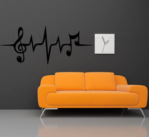 Music Note Heartbeat Pulse Wall Decal Wall Sticker By ValdonImages, $20.00  #homedecor #dormdecor Part 71