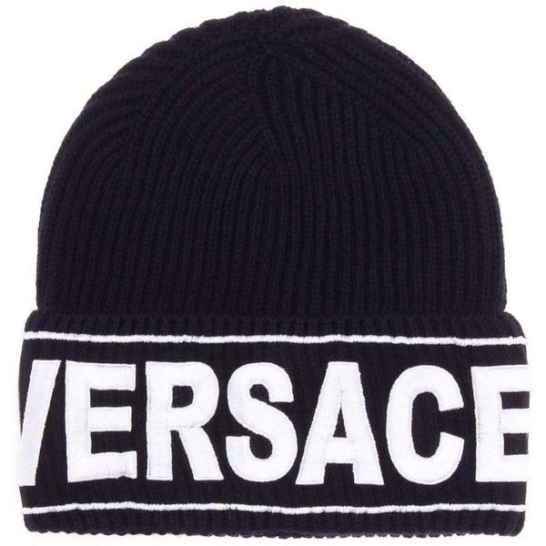 4e83120027f Versace Embroidered Wool Beanie ( 215) ❤ liked on Polyvore featuring  accessories