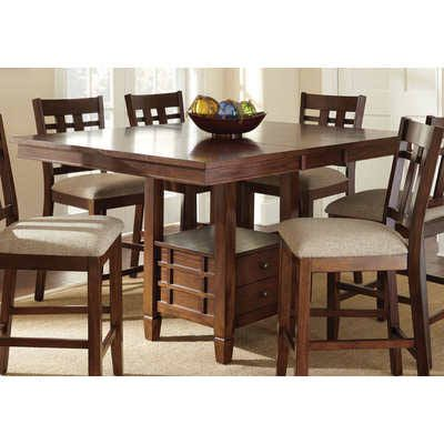 Steve Silver Bolton 48 Inch Square Counter Height Table W 12 Inch Butterfly Leaf Dining Table With Storage Oak Dining Sets Dining Table With Leaf 48 square dining table