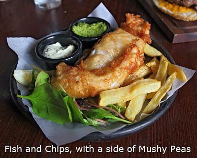 Fish and Chips at the pub at Falls of Dochart Inn, Killin, Scotland.
