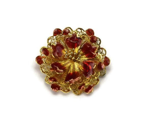 Vintage Filigree Sterling and Enamel Flower Brooch, Italy