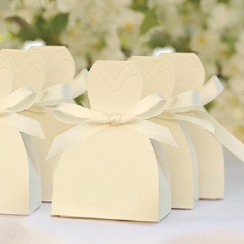 Wedding Favour Box Ivory Wedding Dress Bonbonniere Box Pkt 25