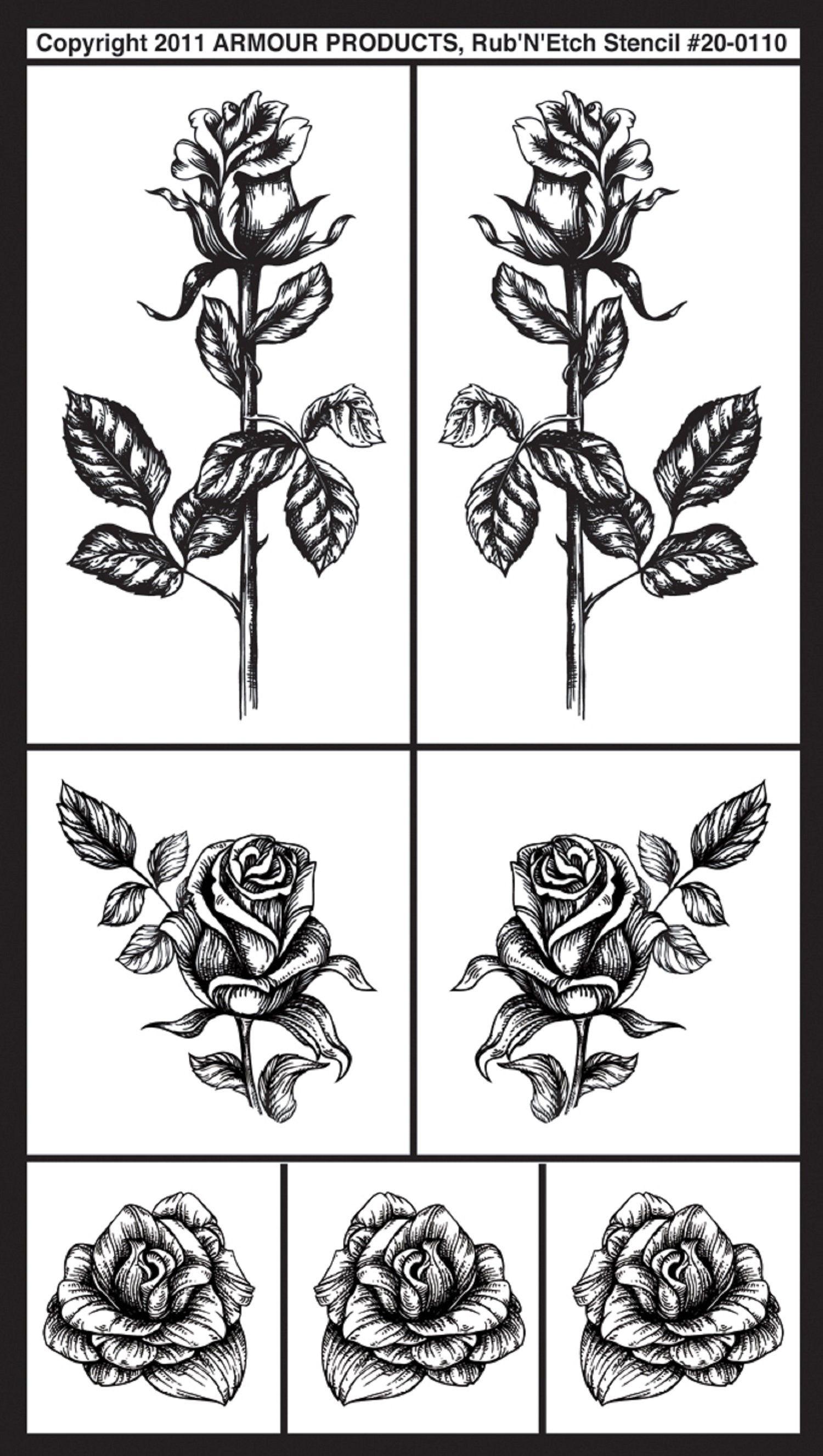 Rub Rub N Etch Glass Etchg Stencils 5 X 8 Detailed Roses Glass Etching Stencils Stencils Glass Etching Projects