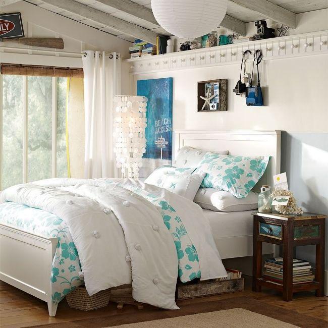 Ideen Jugendzimmer Einrichten Madchen Maritim Flair Weiss Hellblau Muscheln Zimmer Schlafzimmer Design