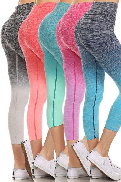 9b32b4e7c3 Women Ombre Capri Cropped Leggings Yoga Pants for Gym Fitness Workout Wear  S M L #MAG