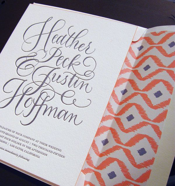 #Calligraphy Ikat #Wedding #Invitations by Bella Figura