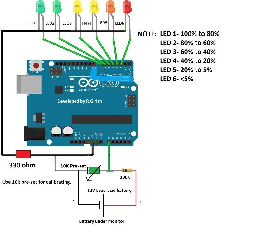 Battery Level Indicator Circuit Using Arduino Automatic Battery Charger Battery Charger Circuit Arduino