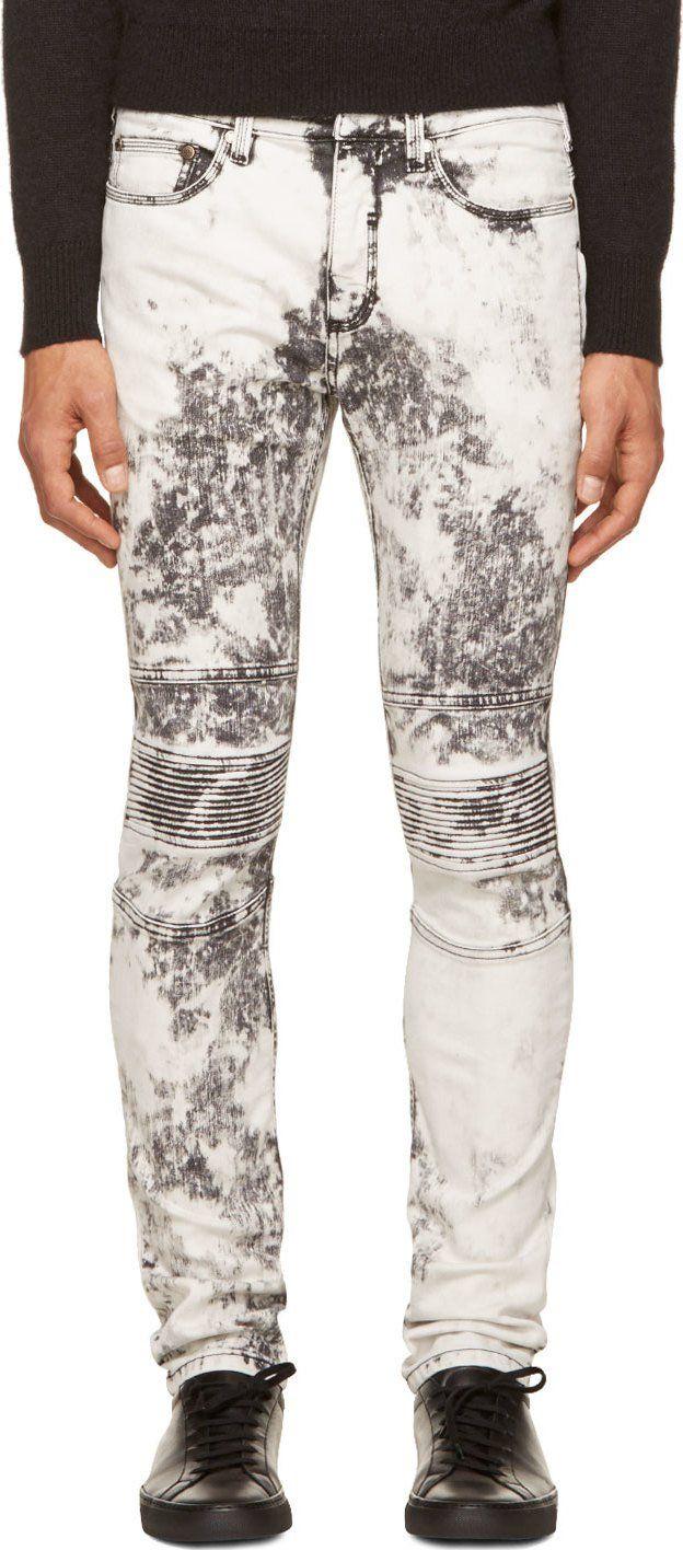 eba50301893 Neil Barrett Black & White Acid Wash Biker Jeans | acid washed jeans ...