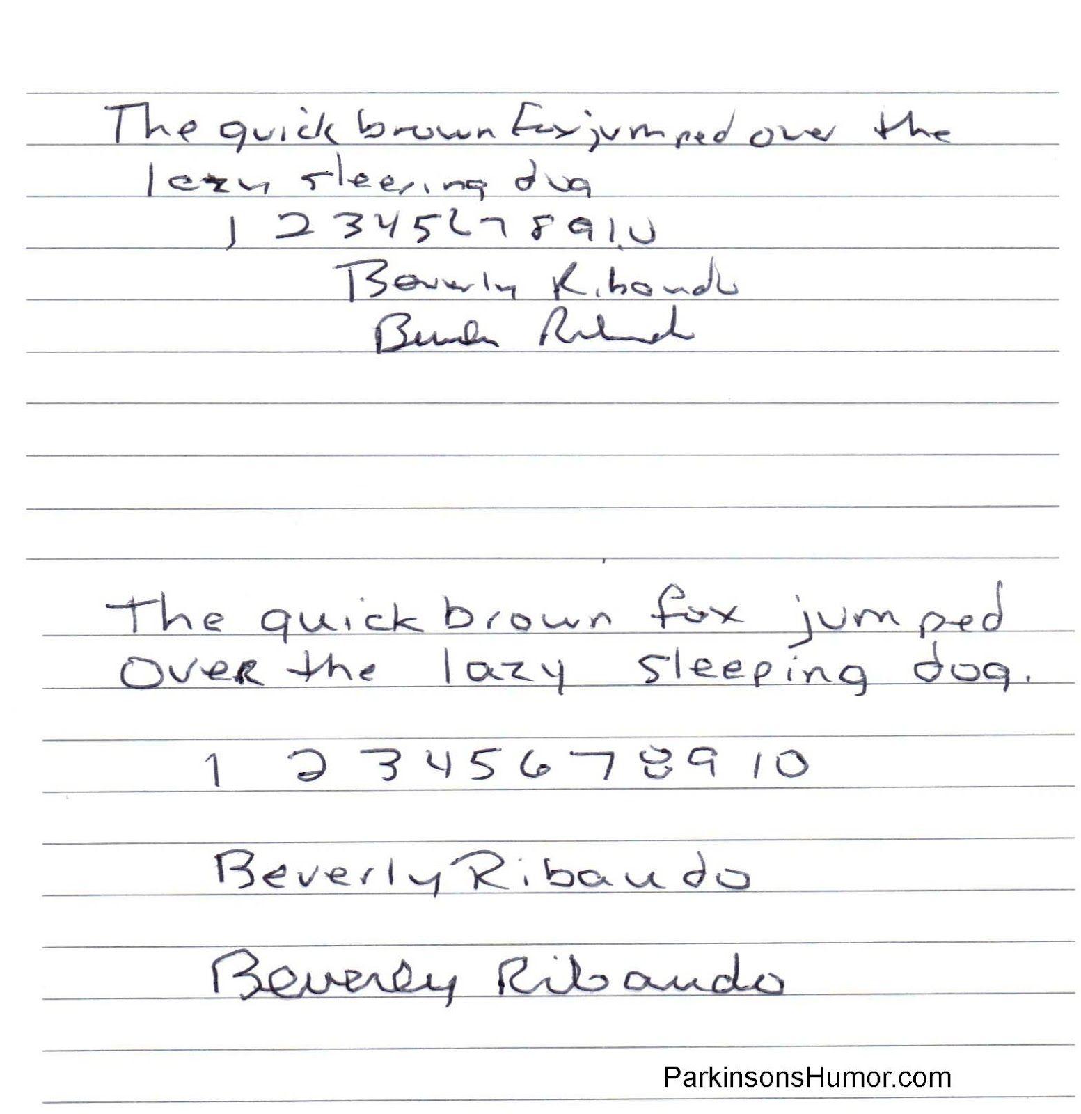 Parkinson S Humor The Abc S Of Parkinson S Disease Handwriting