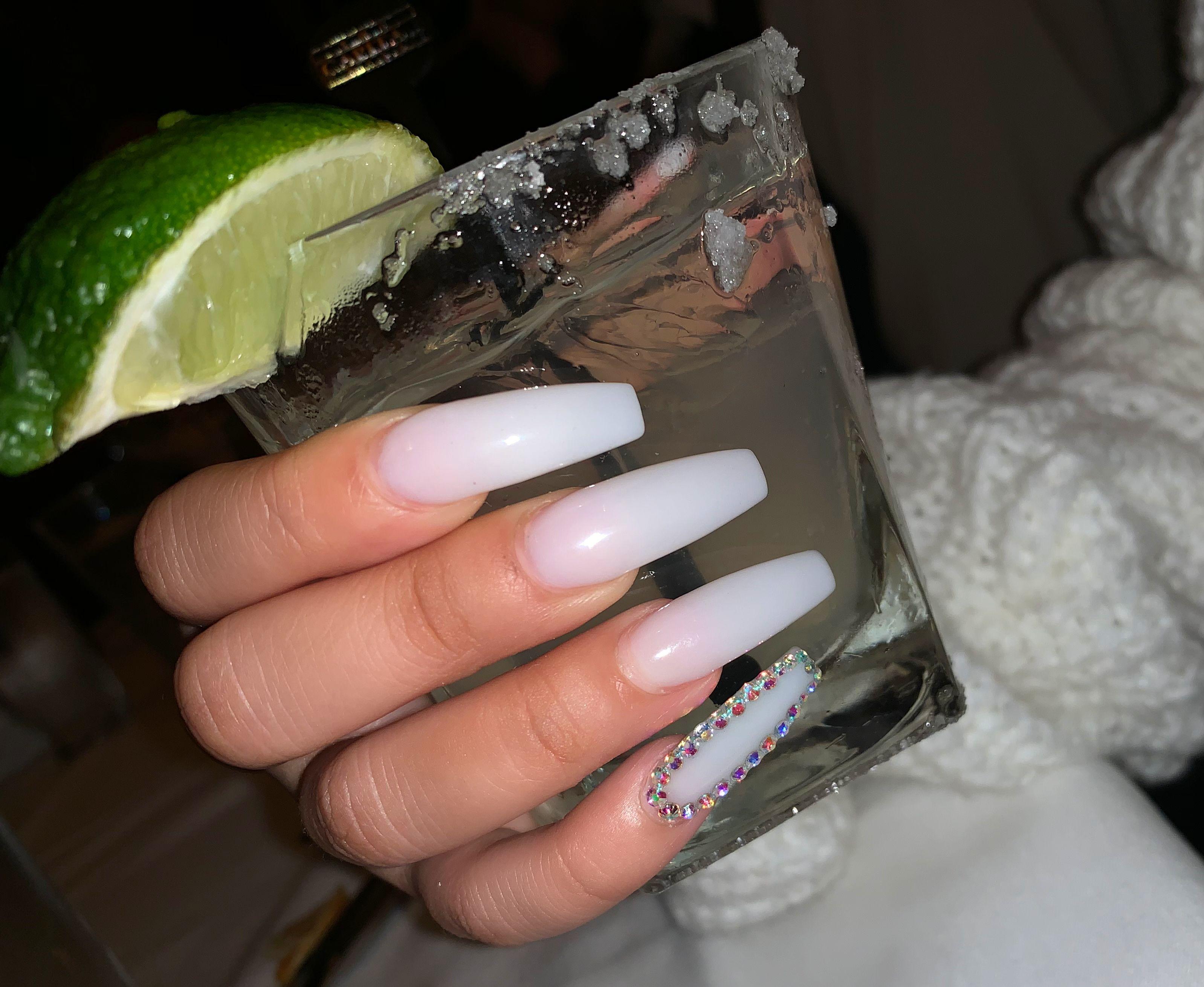 Soft White Long Acrylic Nails Coffin Shape Margarita Long