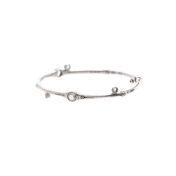 Pre-Owned John Hardy Sterling Silver White Topaz Batu Bamboo Bangle... ($160) ❤ liked on Polyvore featuring jewelry, bracelets, silver, sterling silver hinged bracelet, sterling silver bangle bracelet, sparkle jewelry, john hardy jewelry and stacking bangles