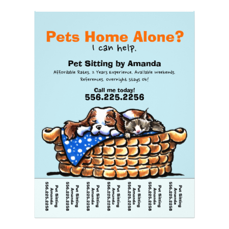 Pet Sitter Sitting Personalized Tear Sheet | Zazzle com