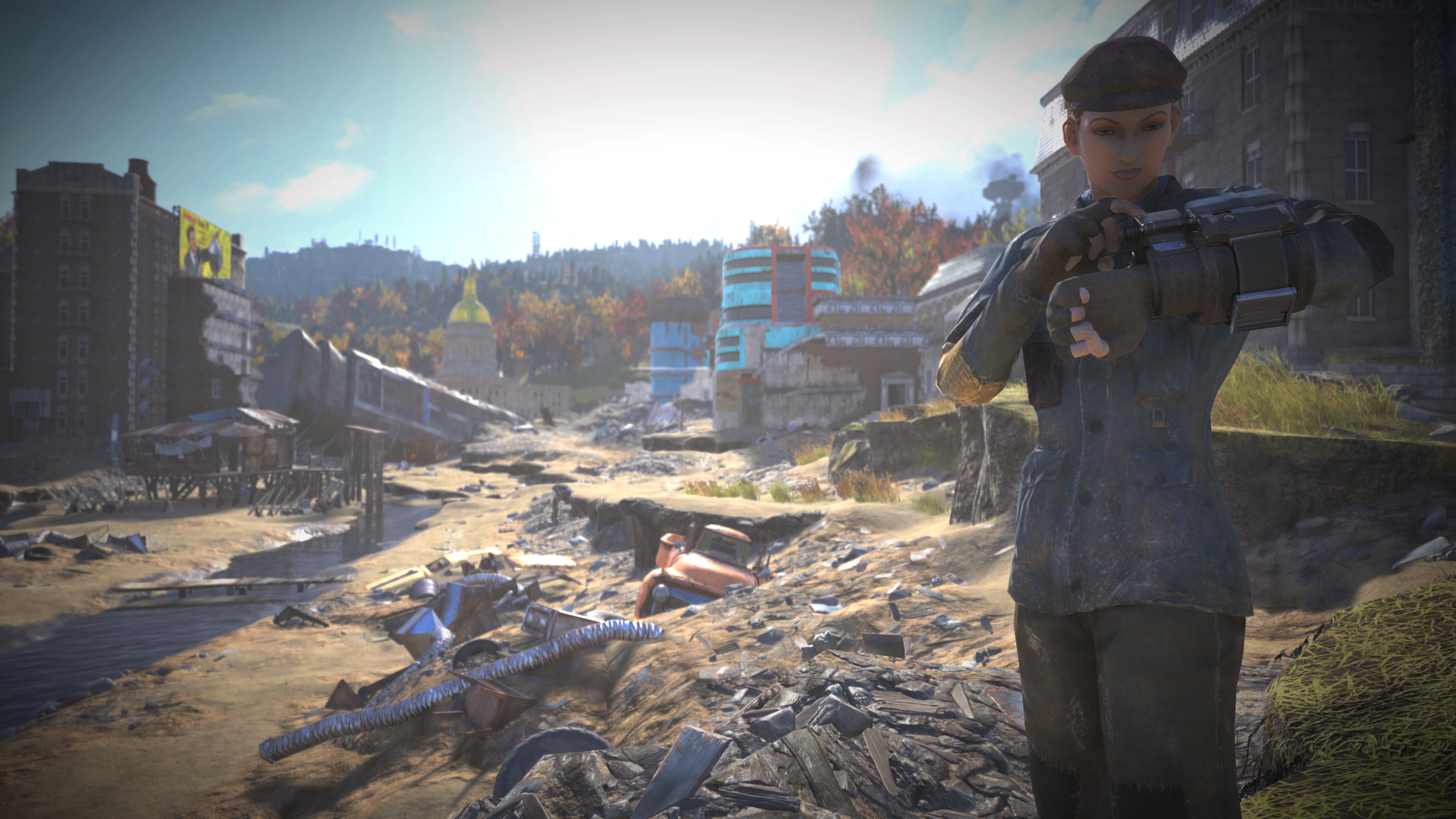 Fallout 76 Padded Blue Jacket with Newsboy Cap Newsboy