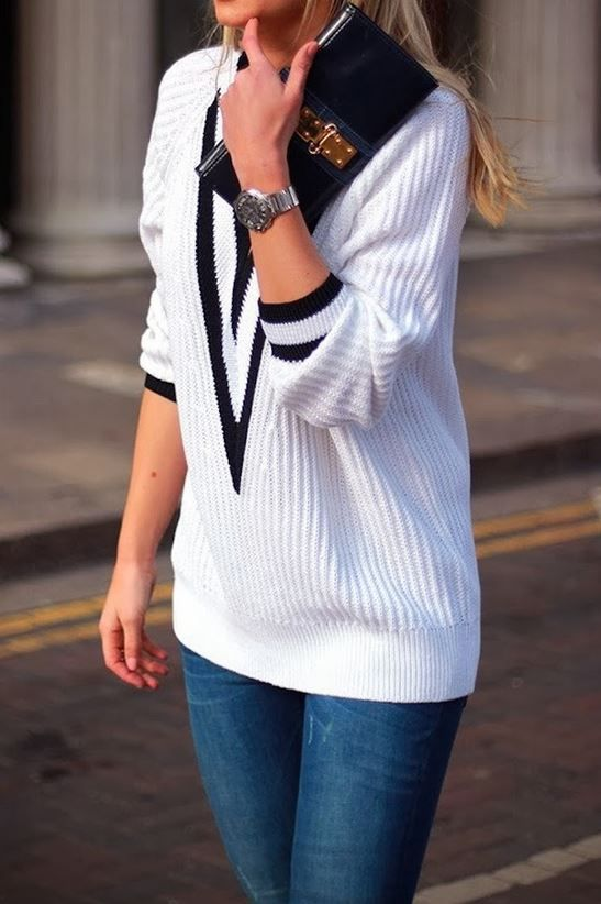 Black and White V-neck Sweater