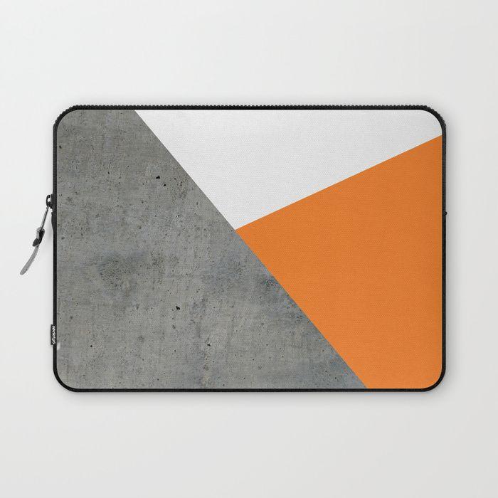 Laptop Sleeves Laptop Case Cover 15 Inch Tangerine Orange Geometric Pattern Laptop Sleeve