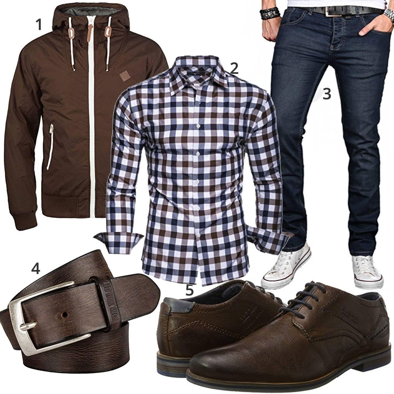 Blau Braunes Herrenoutfit mit Hemd, Jeans und Business