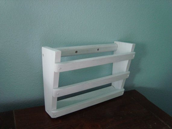 White Wall Hanging Wood Magazine Rack By Mushroommary On Etsy 18 00