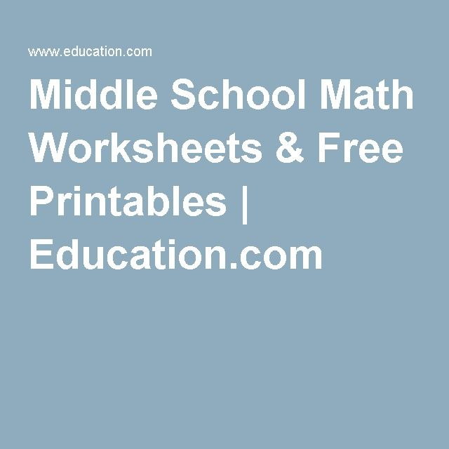 Middle School Math Worksheets & Free Printables | Education.com ...