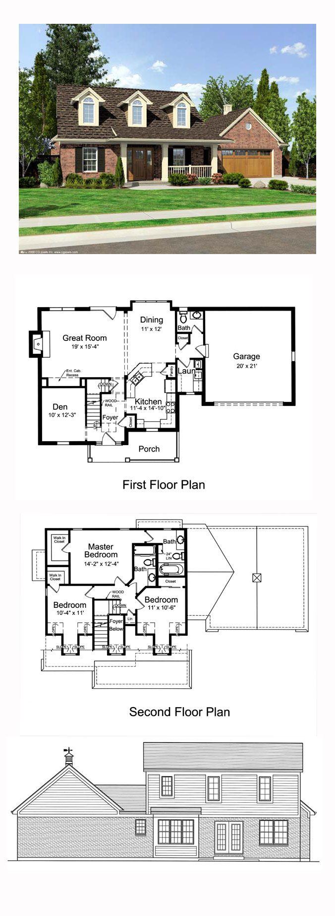 Cape Cod Style House Plan 50169 With 3 Bed 3 Bath 2 Car Garage Cape Cod House Plans Cape Cod Style House Cape Cod House