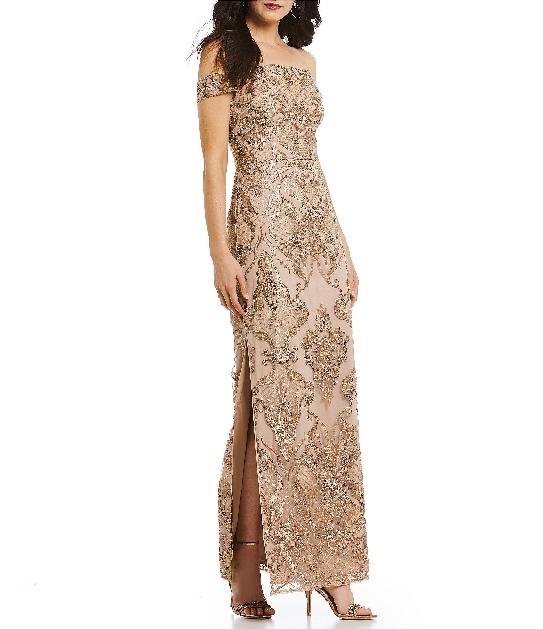 107a7741d7c Shop for Aidan Mattox Off-the-Shoulder Side Slit Lace Gown at Dillards.com.  Visit Dillards.com to find clothing, accessories, shoes, cosmetics & more.
