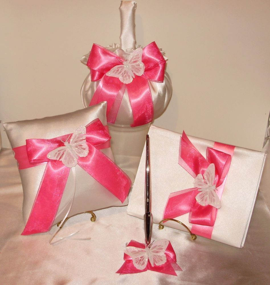 4 piece butterfly set 1 flower girl basket,,guest book , pen and ...