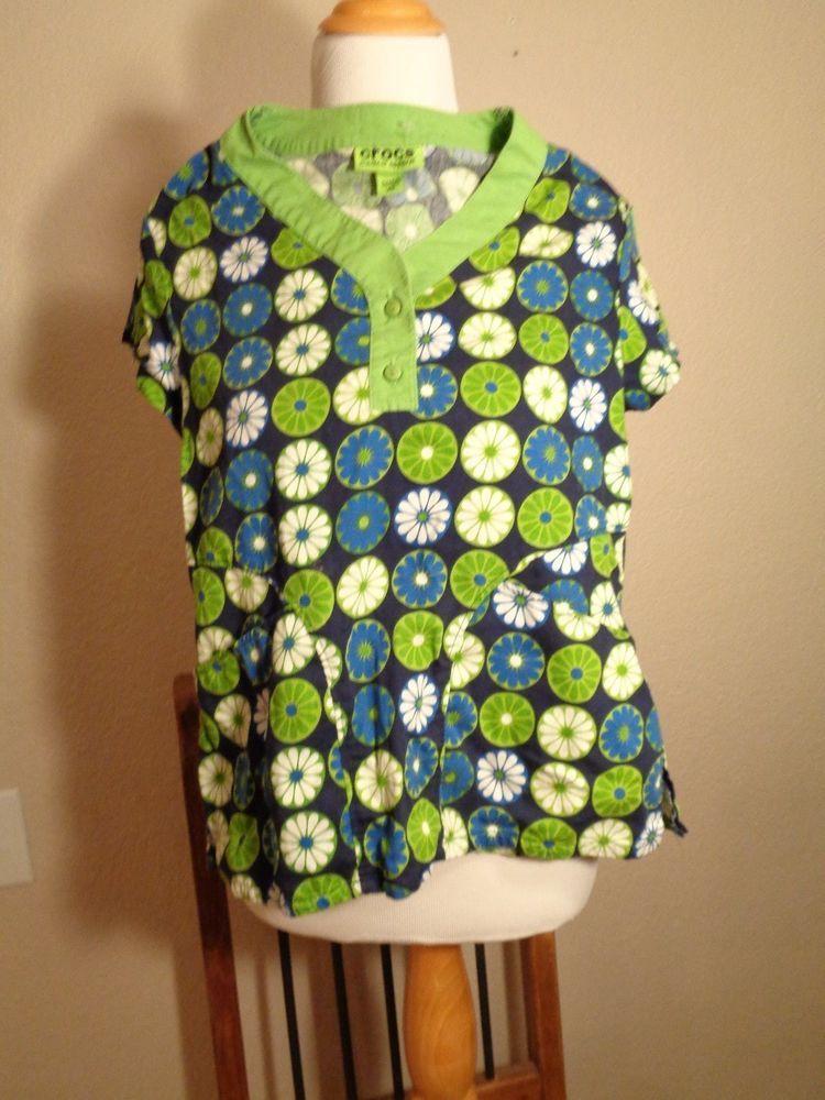 ad7d91dbff4 CROCS Medical Apparel Scrub Top Size XS Blue & Green Boho Hippy Floral  Print #crocs