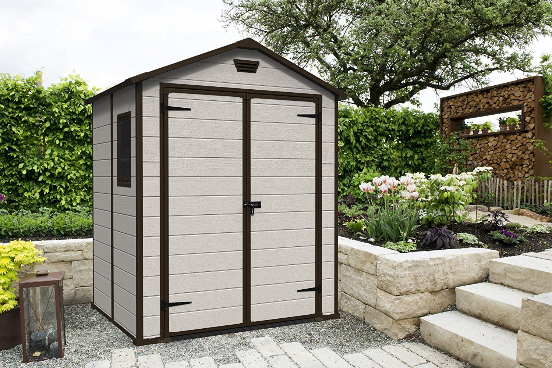 keter manor outdoor plastic garden storage shed 6 x 5. Black Bedroom Furniture Sets. Home Design Ideas