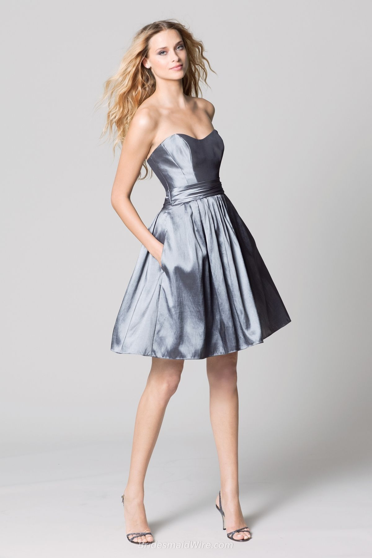 be4824f1f0e Charcoal Taffeta Strapless A-line Knee Length Bridesmaid Dress