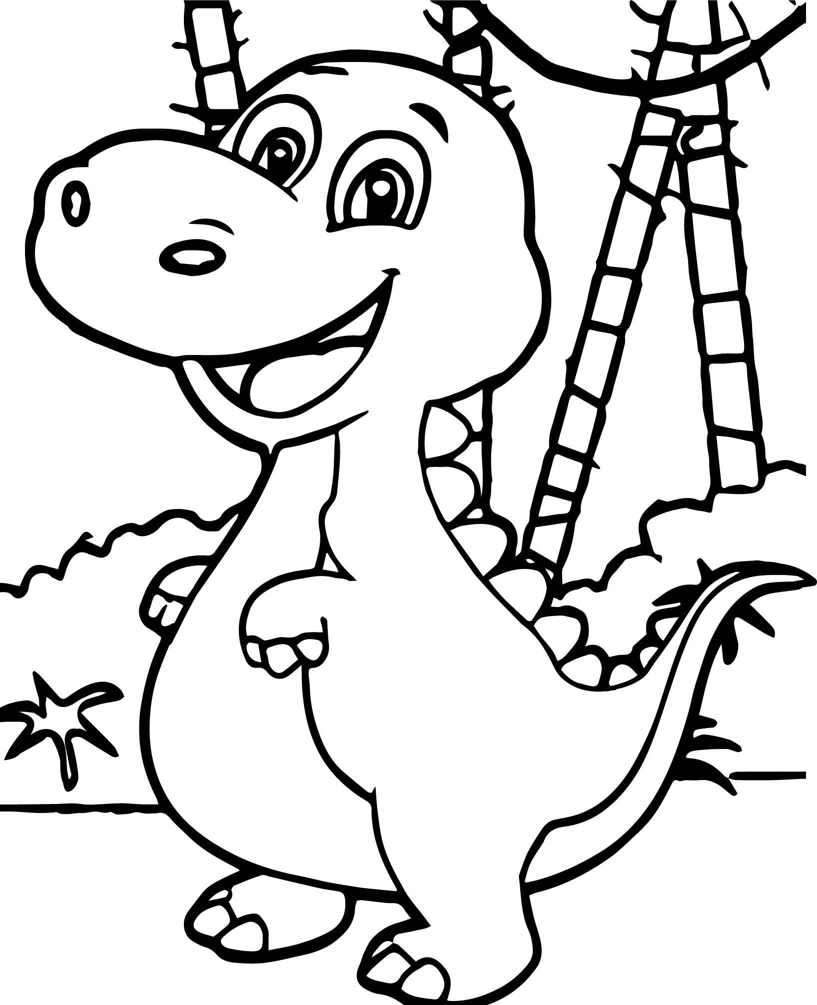 cool Baby Dinosaur Forest Coloring Page Hayvanlar