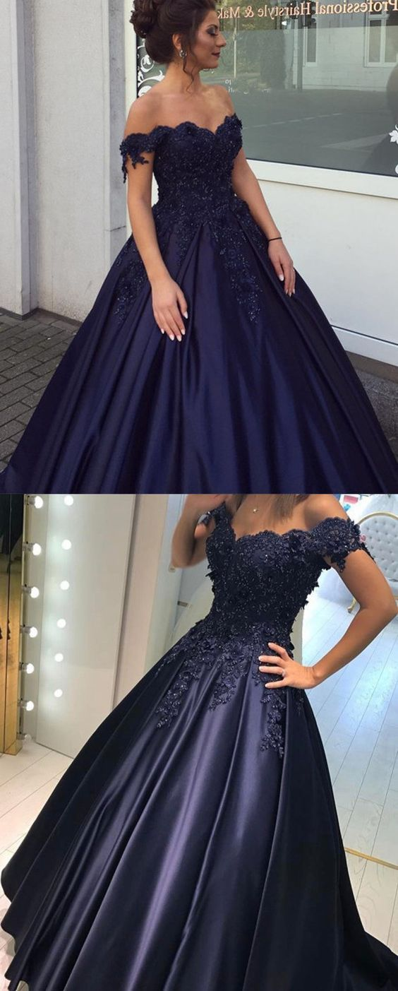 Navy Blue Lace Flower Off The Shoulder Satin Prom Dresses Ball Gowns ...