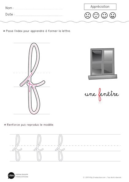 Écrire la lettre f minuscule cursive | Apprendre à écrire ...