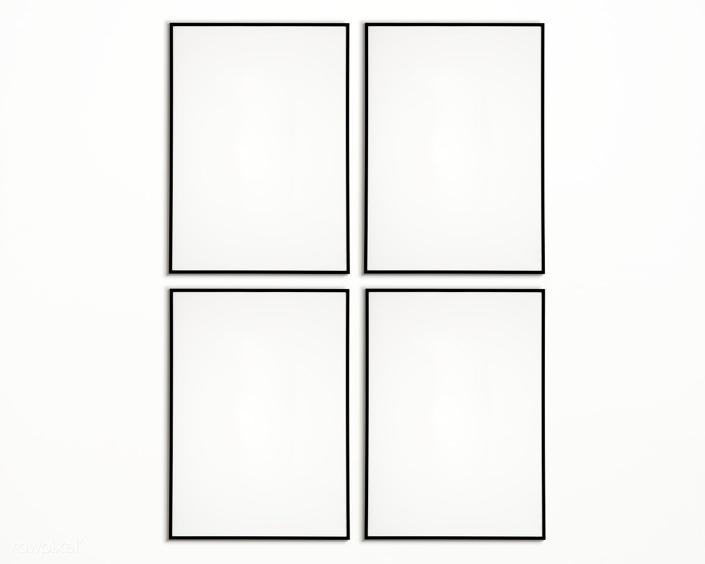 Download Premium Psd Of Four Photo Frames Isolated On White Wall 328123