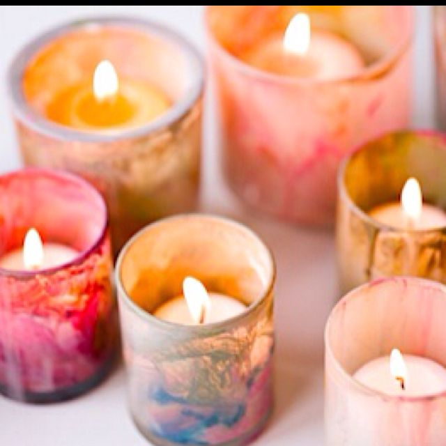 Painted votives! Just swirl water based paints randomly inside and let dry.