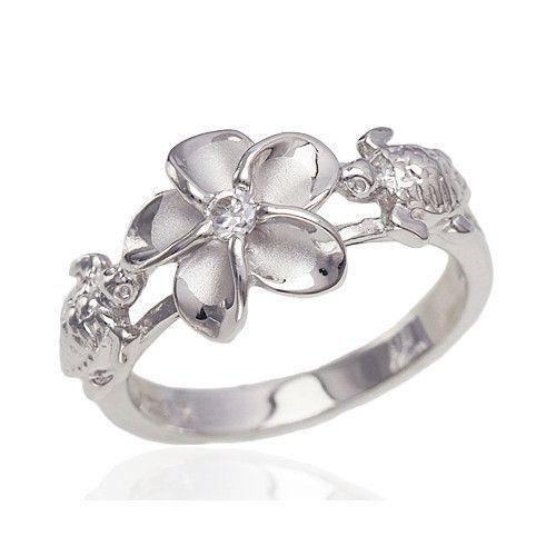 Sterling Silver Alamea Hawaii Plumeria Flower Turtle Ring Sparkle Jade Silver Earrings Outfit Simple Silver Jewelry Silver Wedding Rings