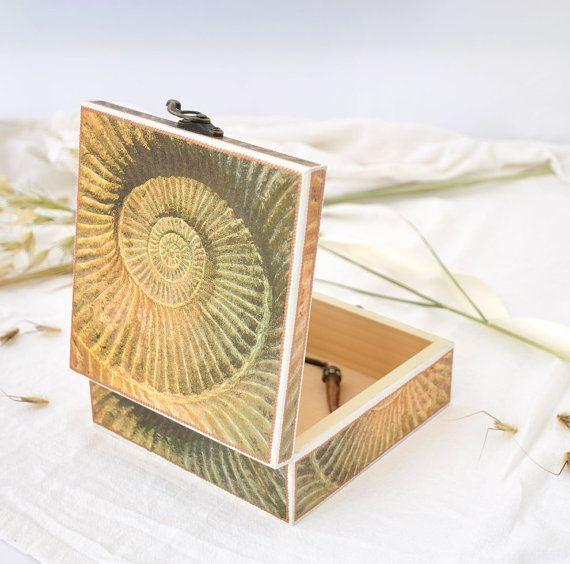 Nautical jewelry box Decorative box Decoupaged jewelry box