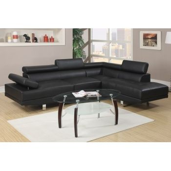 Poundex F7310 Modern Black Leather Sectional Sofa With Chrome Legs And Adjustable Arms And Headrest
