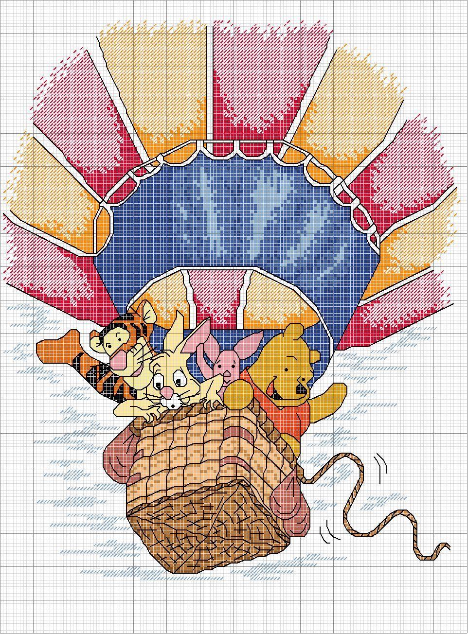 Schema punto croce I winnie in mongolfiera