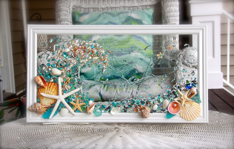 Waveart Seashellart Beach Decor Seashell Wallart Nautical