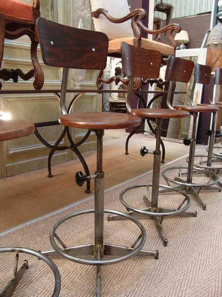 Set of French Vintage Industrial Toledo Style Swivel Bar or Counter Stools with