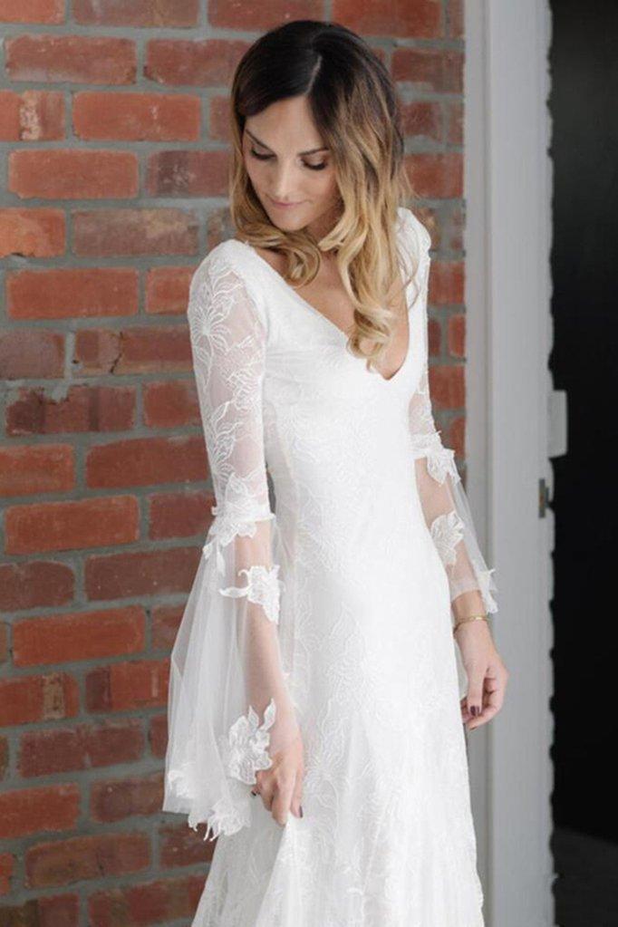 Boho V Neck Beach Wedding Dress With Long Sleeves Unique Lace Wedding Dresses N1830 Lace Wedding Dress With Sleeves Wedding Dresses Lace Bohemian Wedding Dresses