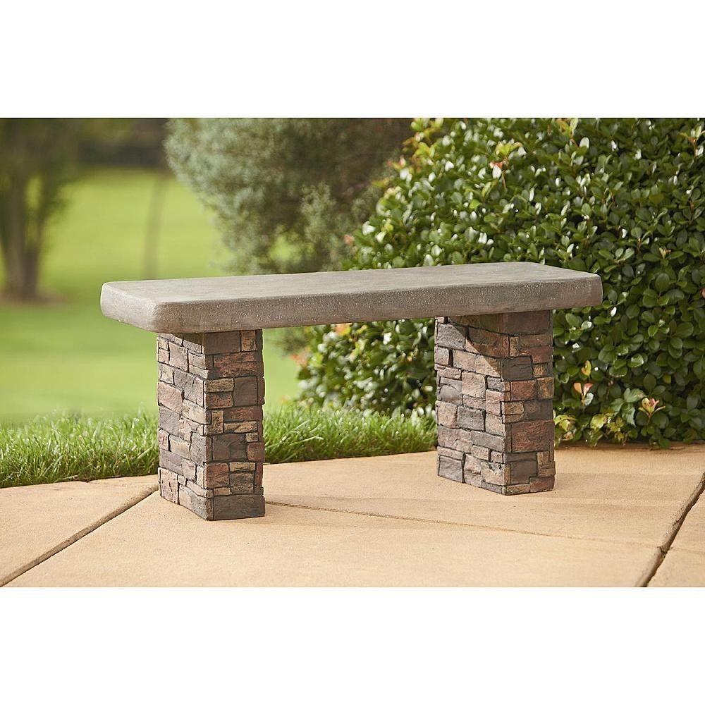 Stone Garden Seats: Outdoor Garden Faux Stone Bench Seating Brick Concrete