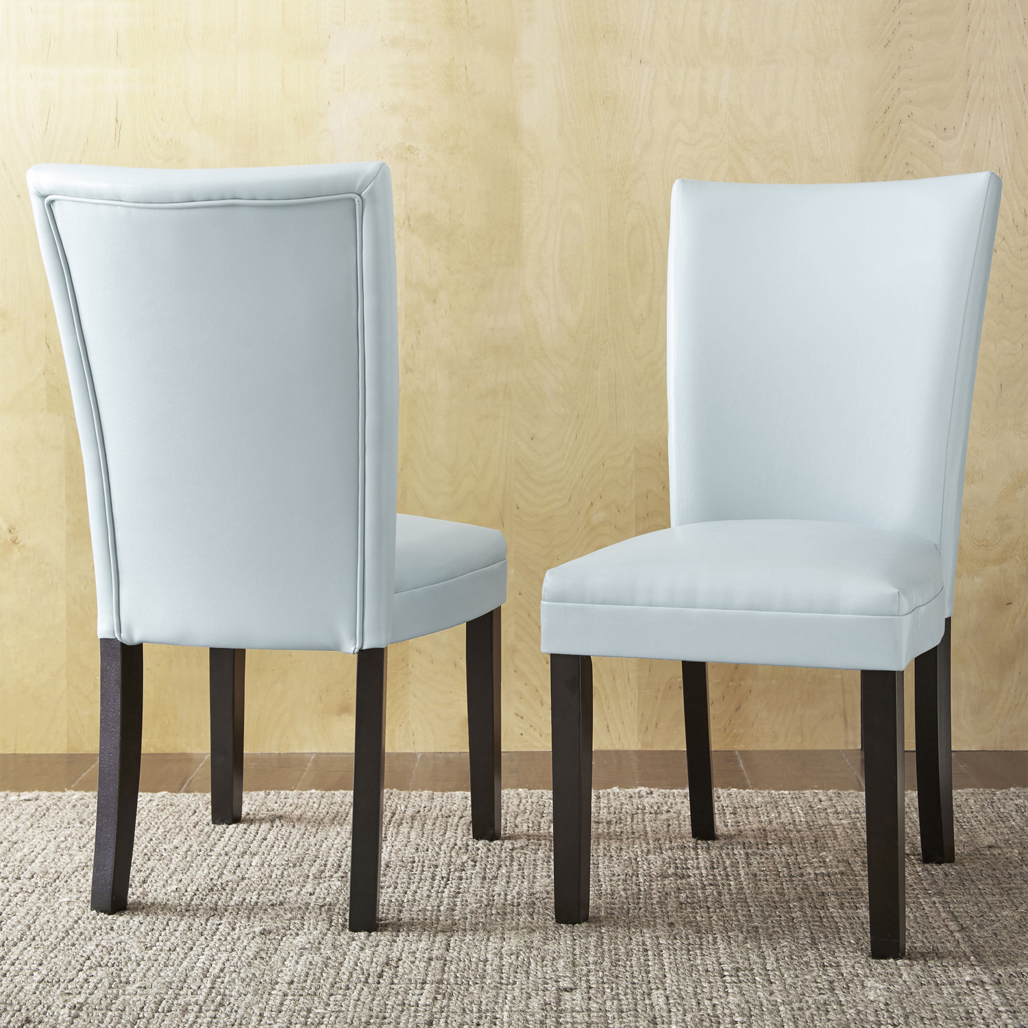 White Marley Bonded Leather Dining Chairs Set 2