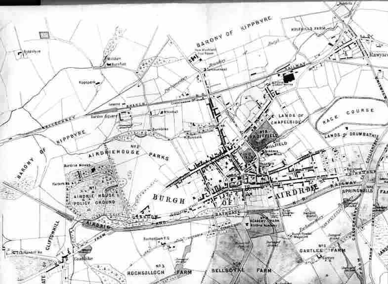 Old Town Map 1878 of Airdrie in Scotland Old Glasgow and
