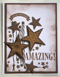 Chocolate Ink  Chocolate, Daisy White Cardstock  Chocolate Brads  Cork Stars  Art Philosophy Cartridge (to cut out the stars)