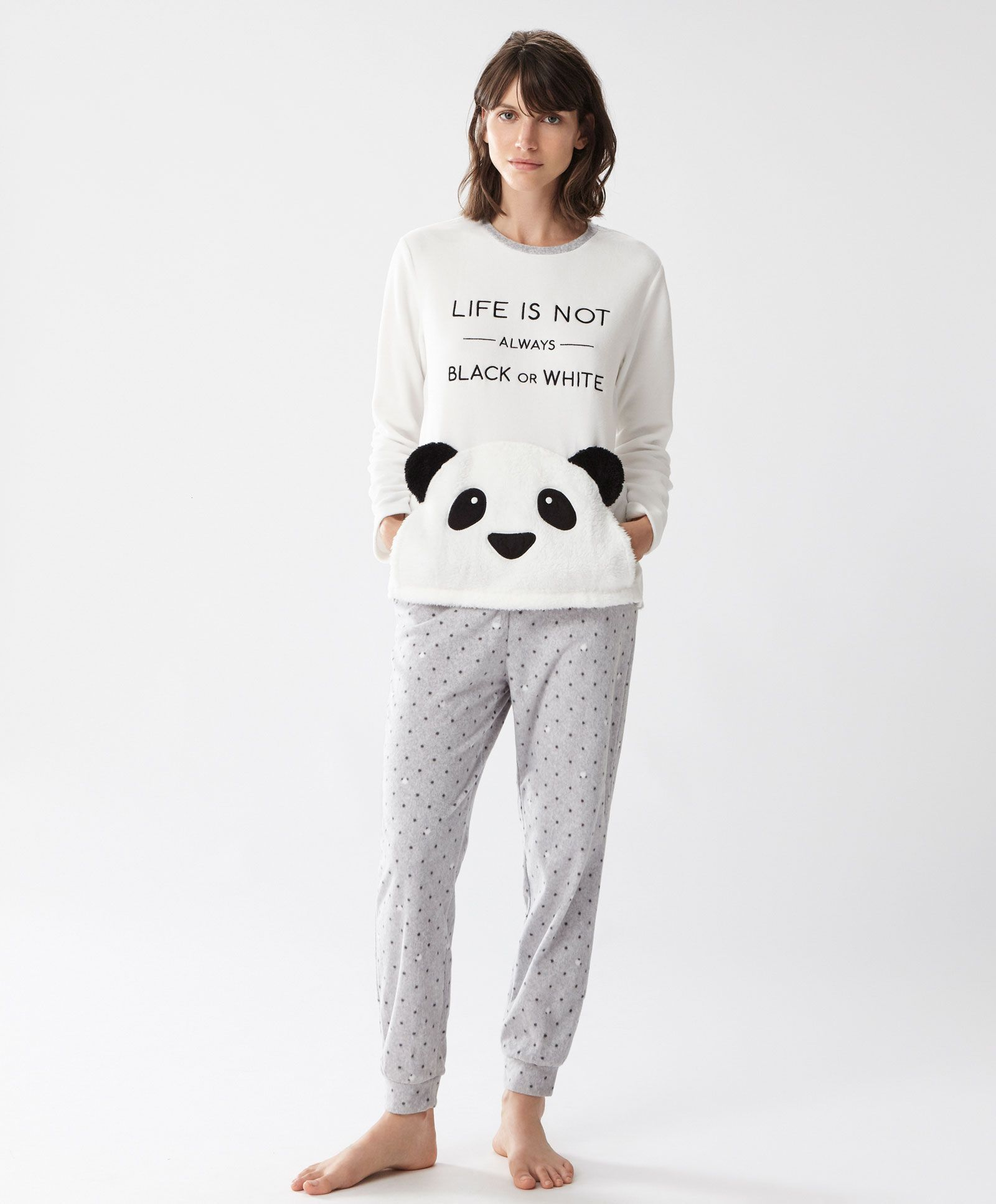 Long panda trousers, null£ - Elastic waist and cuffs. - Find more trends in women  fashion at Oysho .